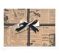 Vintage news kraft wrapping paper