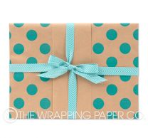 Large dot teal kraft wrapping paper