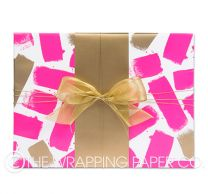 Brush strokes fluro pink gold wrapping paper