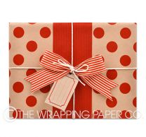 large red dot kraft wrapping paper