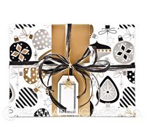 xmas trinkets black/gold/silver christmas wrapping paper