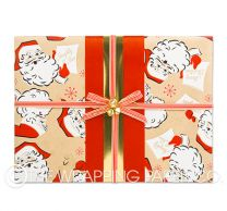 retro santa red christmas wrapping paper