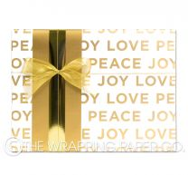 peace love joy gold christmas wrapping paper