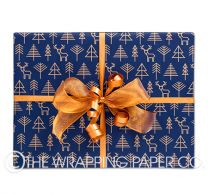 geo forest indigo copper christmas wrapping paper