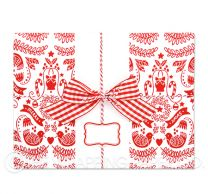 two turtle doves red/white christmas wrapping paper