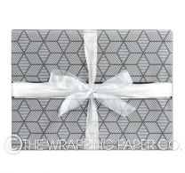 charcoal silver star wrapping paper