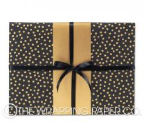 Matt black large gold dot wrapping paper