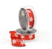 Red grosgrain white snowflake christmas ribbon