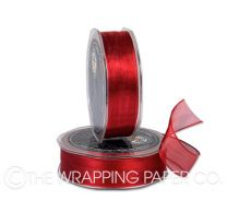 ORGANZA METALLIC WIRED EDGE RED