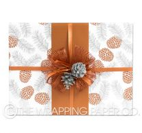 pine cones copper silver christmas wrapping paper